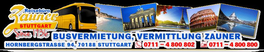 Busreisen Zauner in Stuttgart Busvermietung, Vermittlung in Stuttgart seit 1936 – Coach Rental and Charter